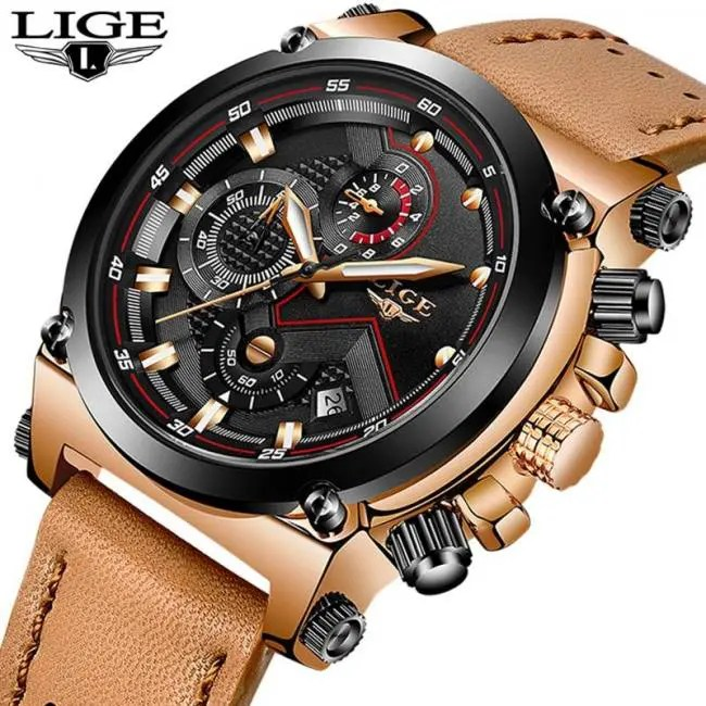 4f89cd54c70 FREE SHIPPING Reloje LIGE Men Watch Male Leather Automatic date Quartz  Watches Mens Luxury Brand Waterproof