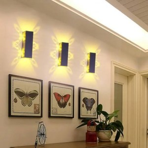 FREE SHIPPING 2W 6W Led Wall Lamp Sconce lights Double batteryfly Aluminum fixture Up and down modern AC85-265V for home hotel KTV Bar IQ free