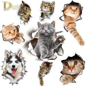 FREE SHIPPING Hole View Cat Dog 3D Wall Sticker Bathroom Toilet Kids Room Decoration Wall Decals Sticker Refrigerator Waterproof Poster free