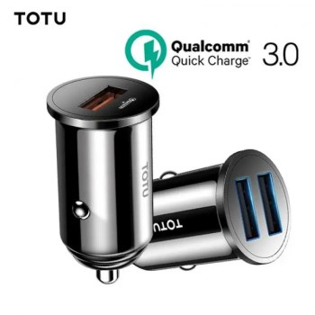 FREE SHIPPING TOTU Quick Charge 3.0 USB Car Charger For iPhone xs Samsung Xiaomi Mini Dual USB Fast Car Charging Mobile Phone Charger Adapter free
