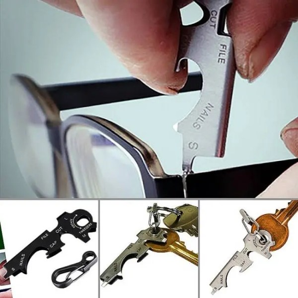 FREE SHIPPING 8 in 1 Multi-Functional Key Stainless Steel Outdoor Tool Utility Bottle Opener 1