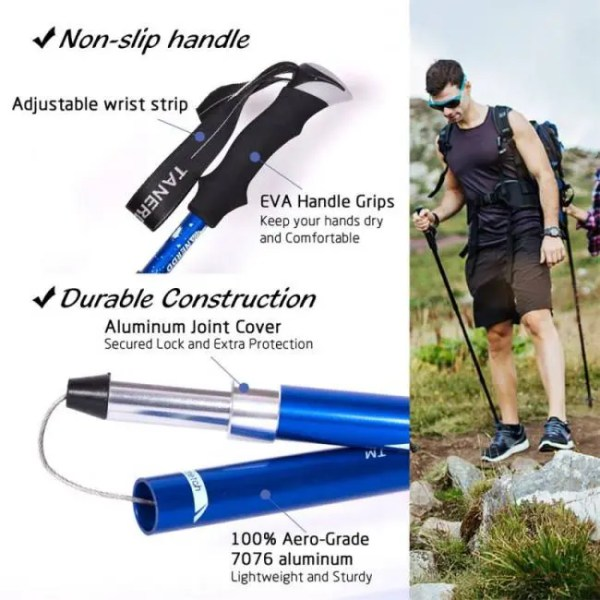 FREE SHIPPING Handle 4-Section Adjustable Walking Sticks Canes Hiking Poles Trekking Alpenstock for Outdoor 1Pc