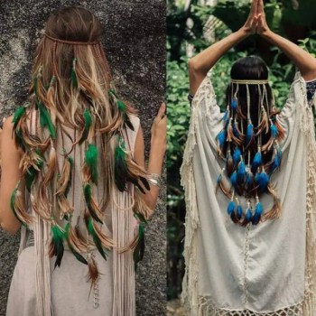 FREE SHIPPING Feather Rope Crown 2019 Boho White Elastic Gypsy Festival Head Band for Women Fashion Indian Hair Accessories 2019