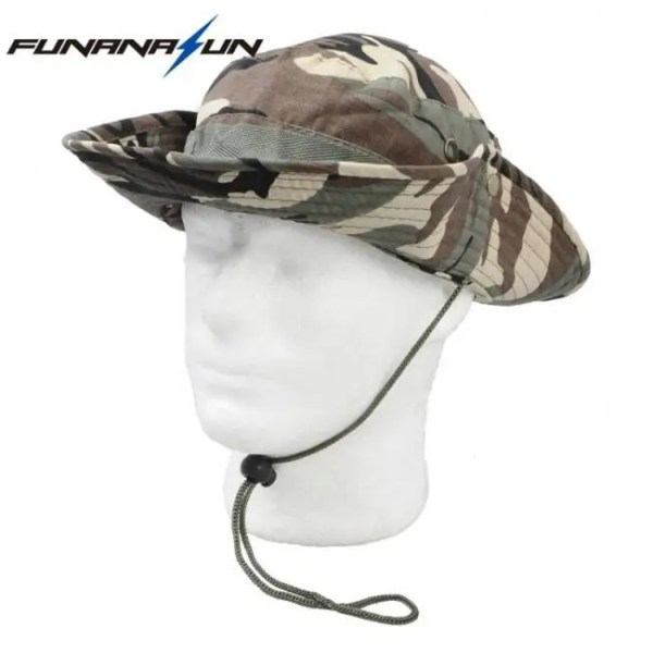 FREE SHIPPING Men Hunting Camouflage Hat Outdoor Hiking Wide Bucket Caps Unisex Boonie