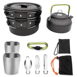 FREE SHIPPING Outdoor Portable Picnic Teapot Pot Set Carabiner Camping Cookware Stove With Tea Cup Coffee Cup Camping