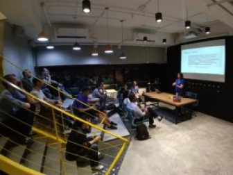 Sadukie presenting The C# Dev's Intro to Python at the Microsoft Developers HK Meetup