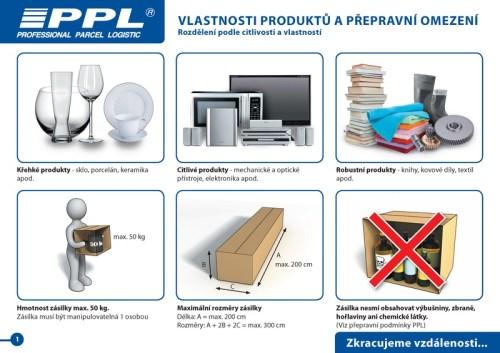 PPL zabalení zásilky - vlastnosti produktů a přepravní omezení