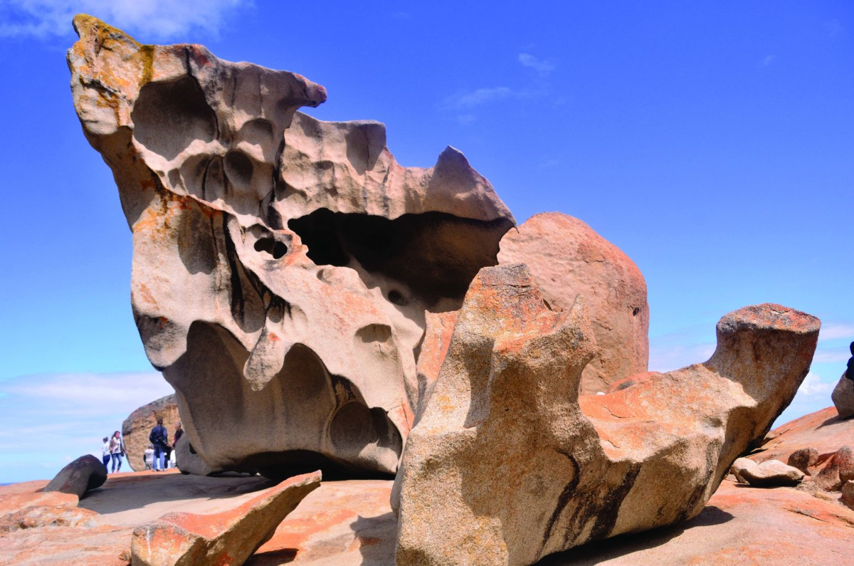 Perched 200ft above the crashing sea, the 'Remarkable Rocks' are a collection of enormous eroded granite boulders sitting atop a giant dome of lava, that has been shaped by the erosive forces of wind, sea spray and rain over some 500 million years.