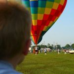 A hot air balloon is made up of three components: basket, burners, and an envelope