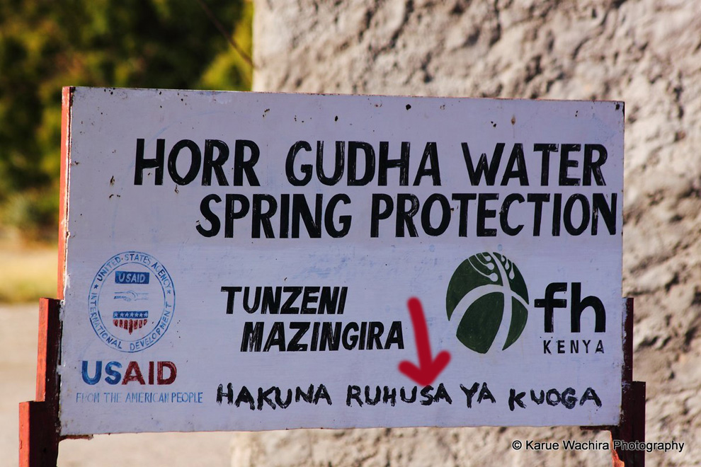 North Horr_Horr Gudha spring_sign post_up close