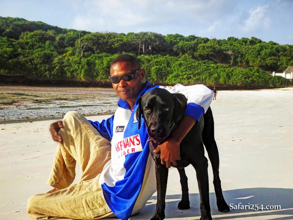 Watamu beach_guy with dog