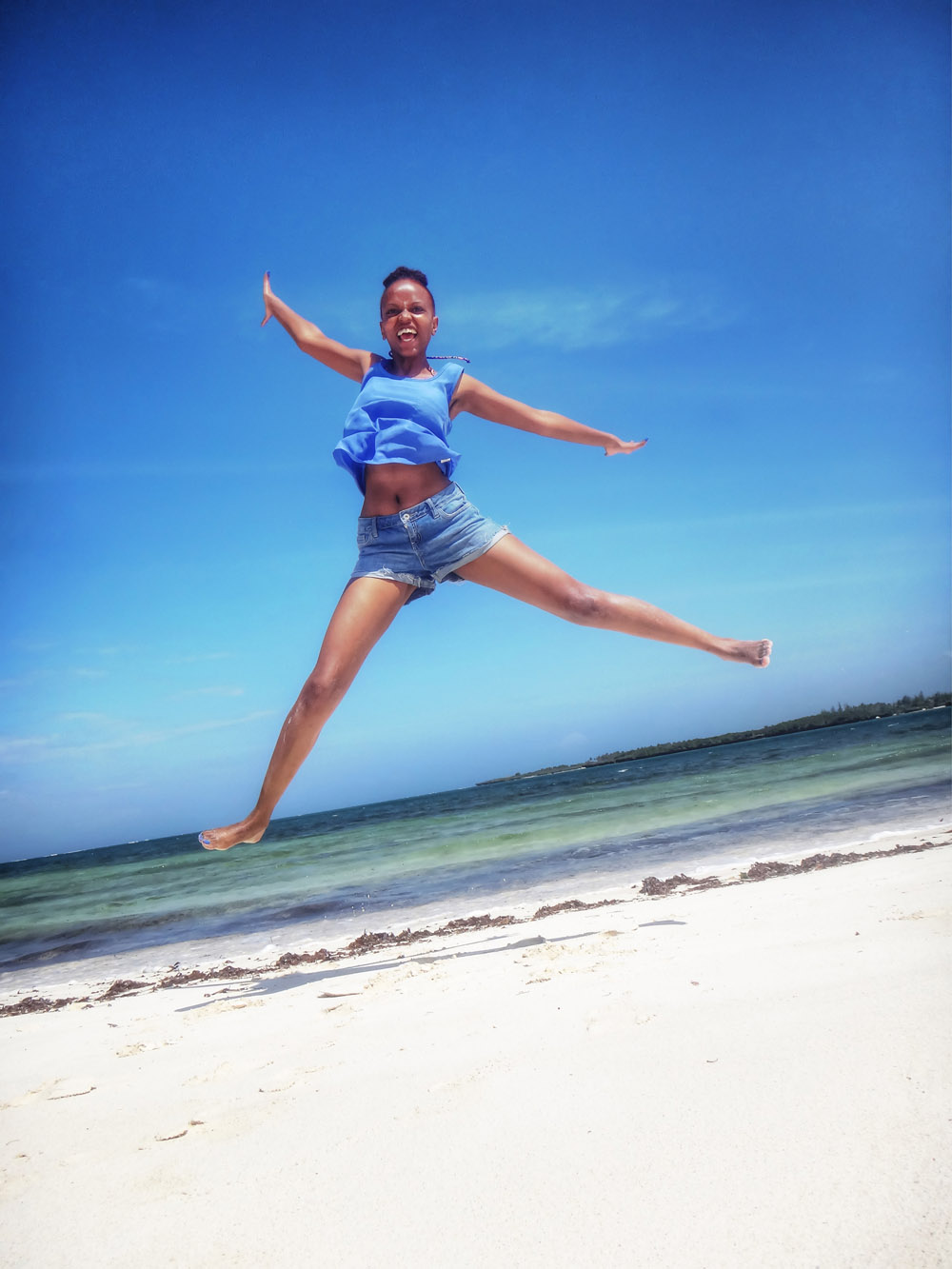 Temple Point Resort_Me jumping on beach