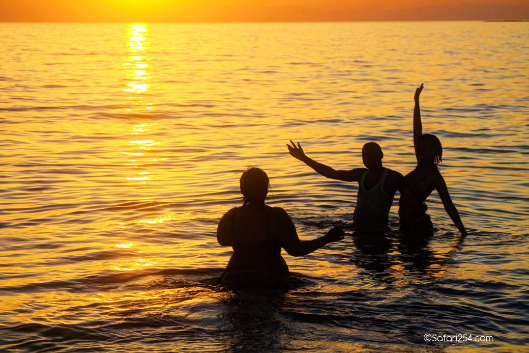 Northern Kenya_swimming L turkana