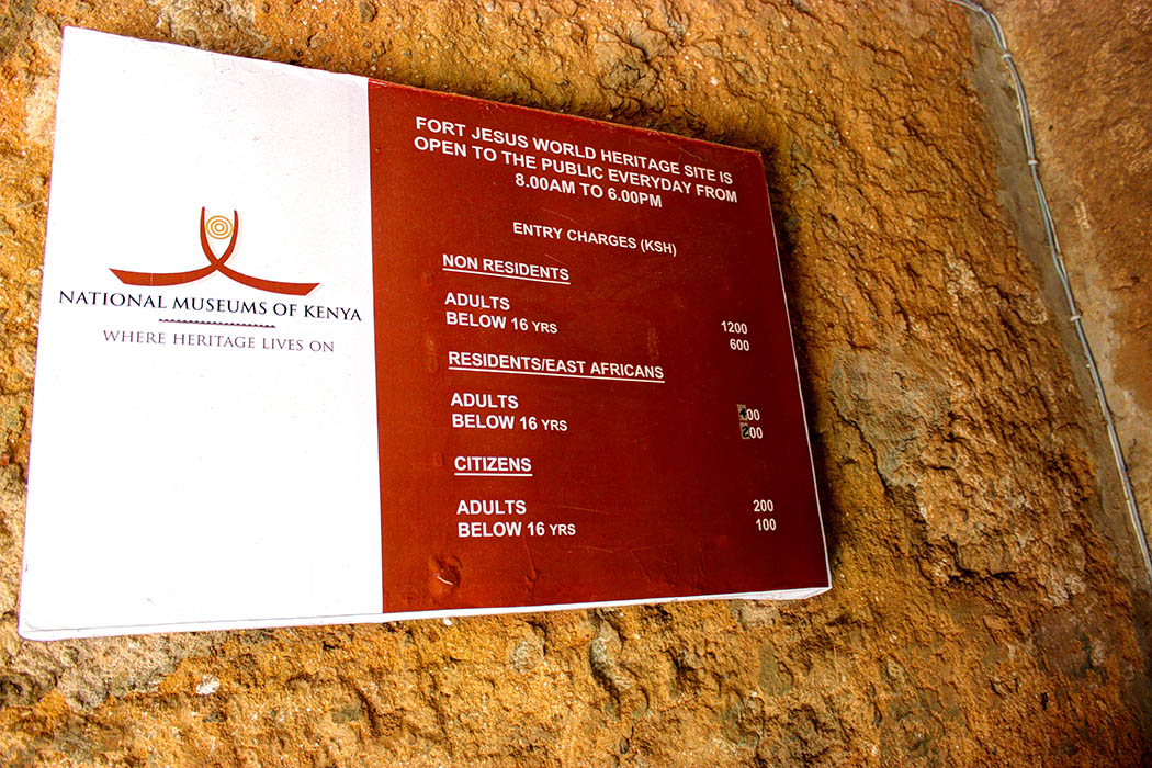 Fort Jesus Mombasa_charges