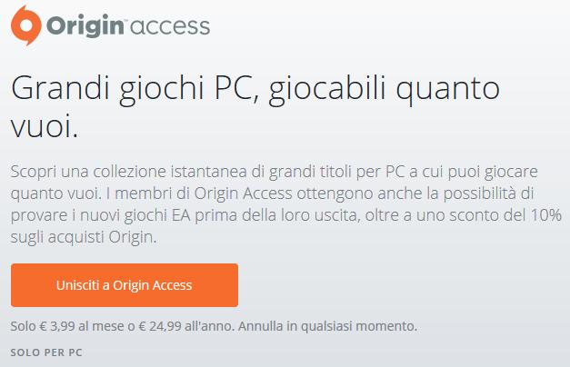 Origin Access Iscrizione al sito