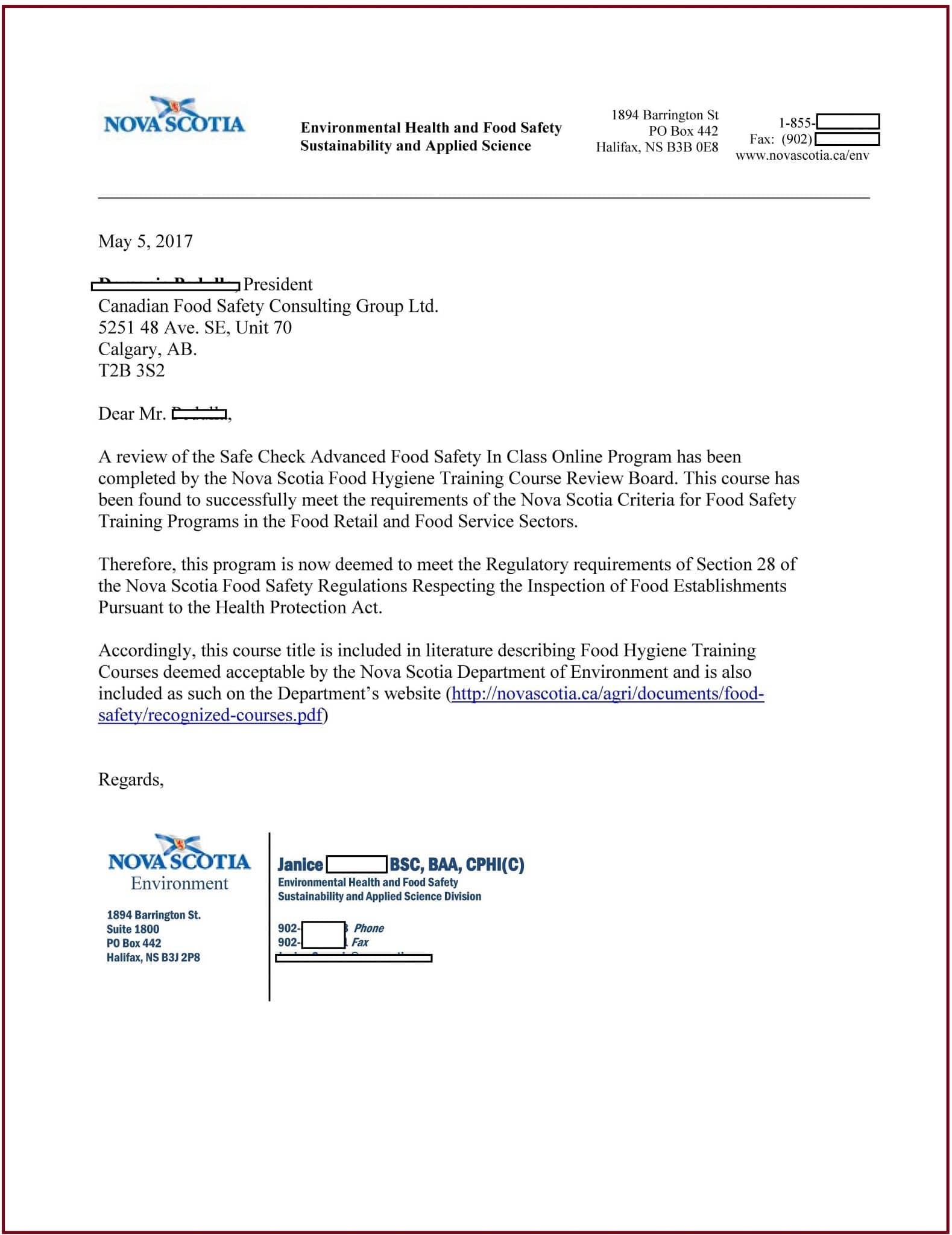 Nova Scotia - Food Safety Course Approval - A