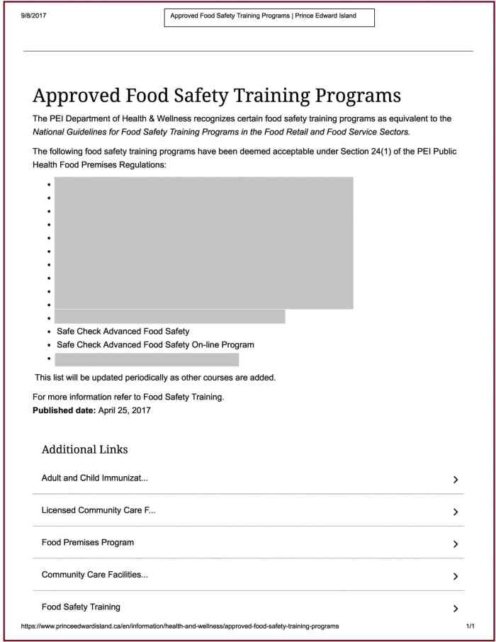 Prince Edward Island - Food Safety Course Approval A
