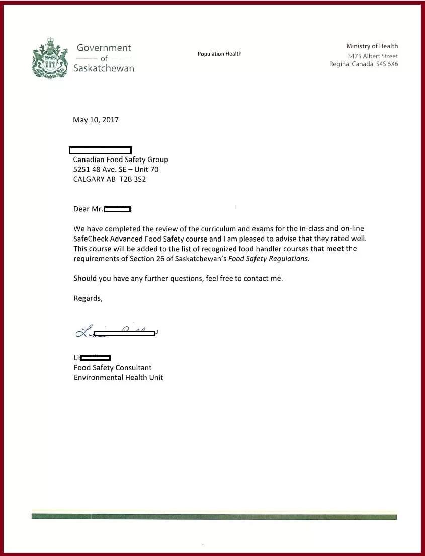 Saskatchewan - Food Safety Course Approval A