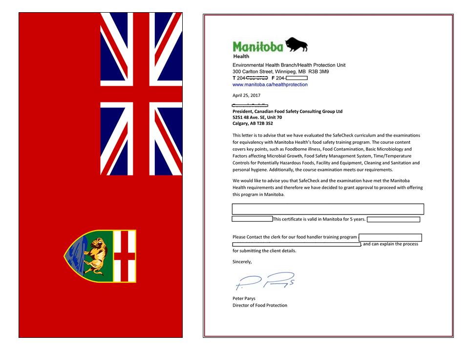 Manitoba Approval