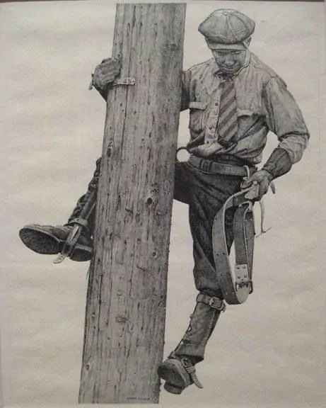 Drawing of Utility Lineman wearing felt hat as protection.