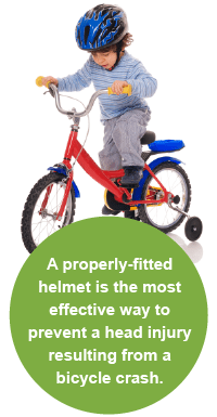 A properly fitted helmet is the most effective way to prevent a head injury.