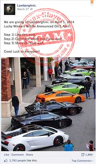 lamborghini-facebook-like-farming-scam