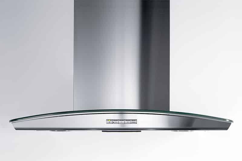 Safera Siro stove guard is discreetly integrated into a cooker hood