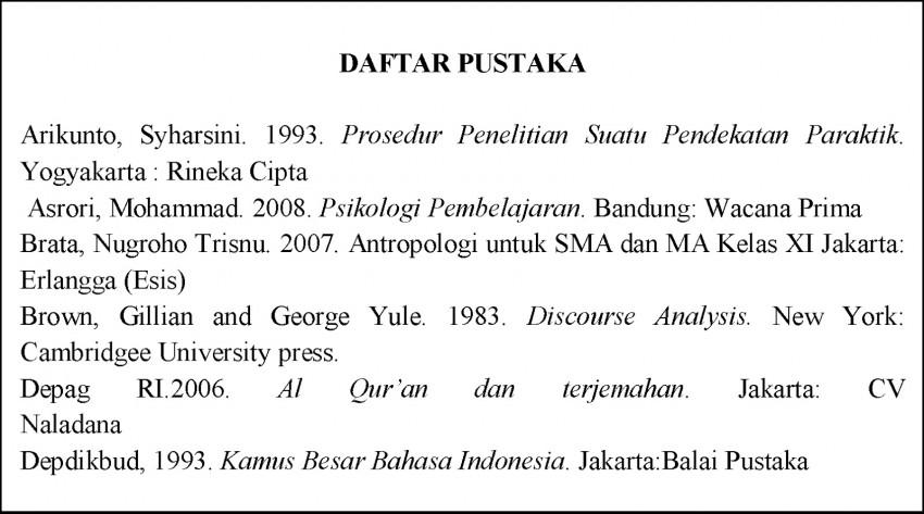 contoh daftar pustaka umum
