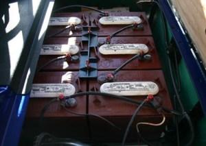 EZGO Lifted Blue 36 Volt Electric Golf Cart