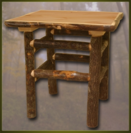 Brand New Rustic Furniture Bark On Lodge Pole End Table