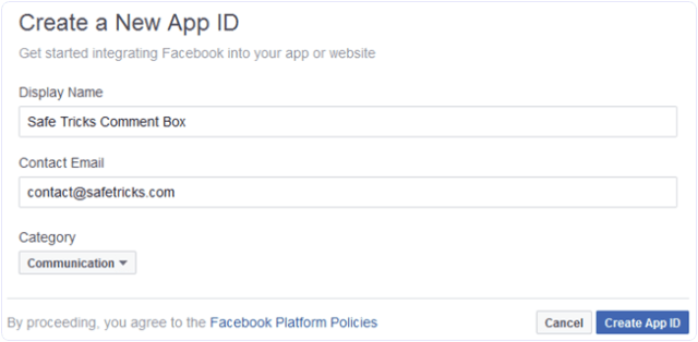 Facebook fill new app details