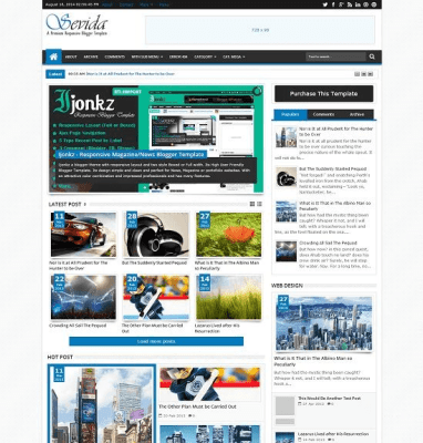 Sevida responsive blogger template