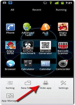 Android GO Launcher Ex hide app