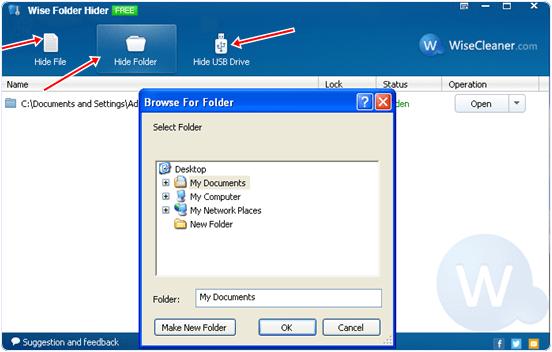 hide files folder drives in wise folder hider
