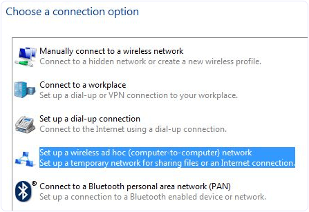 Set up wireless connection network windows