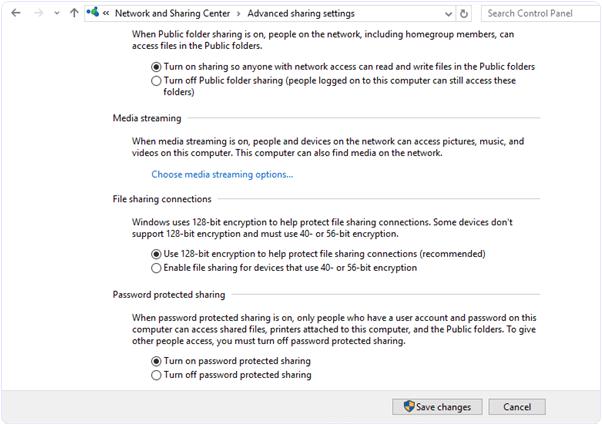 Windows network sharing advances settings
