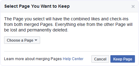 Facebook select pages to merge