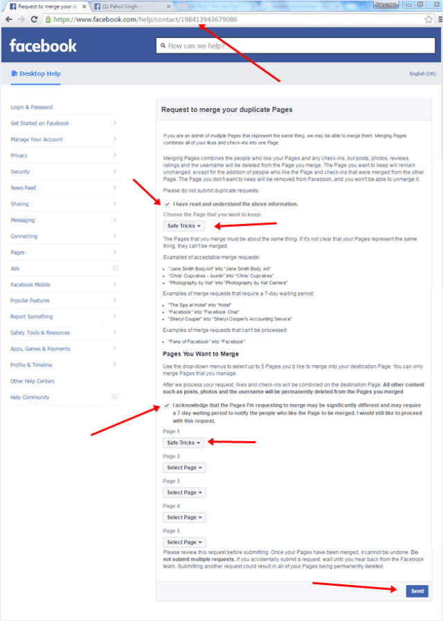 merge facebook request form email support