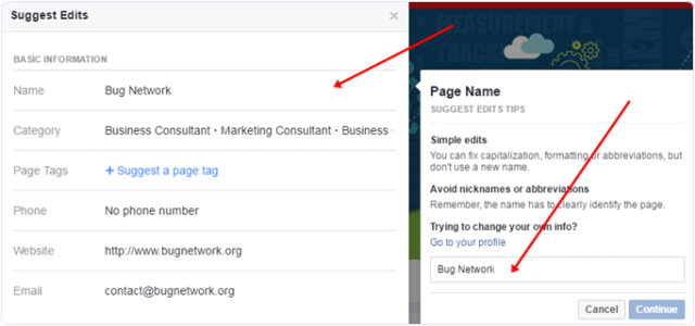 Facebook change name with suggest edits