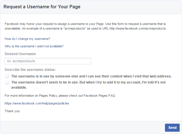 claim username facebook form
