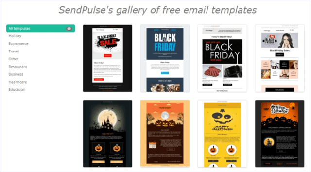 sendpulse gallery of free email templates