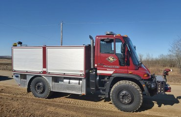 Unimog Fire Truck on dirt road