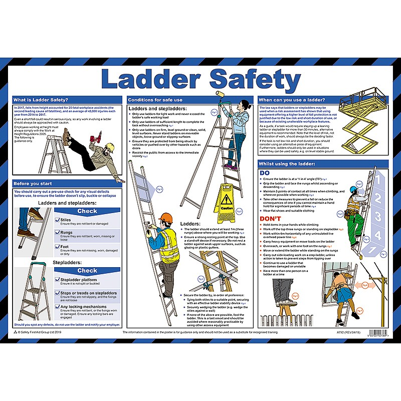 ladder safety poster a2 laminated