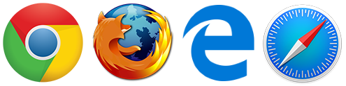 Supports Chrome, Firefox, Internet Explorer, Edge and Safari