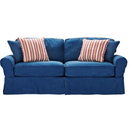 4 colorful living room ideas to coordinate with flirty for Red denim sectional sofa
