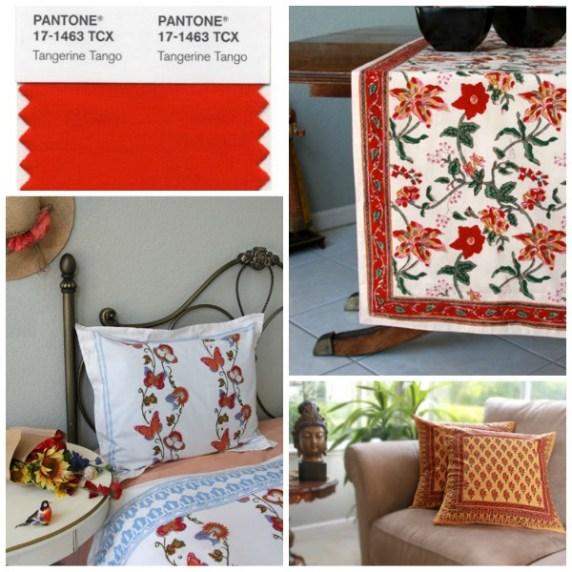 Tangerine floral linens