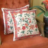 tangerine floral pillows