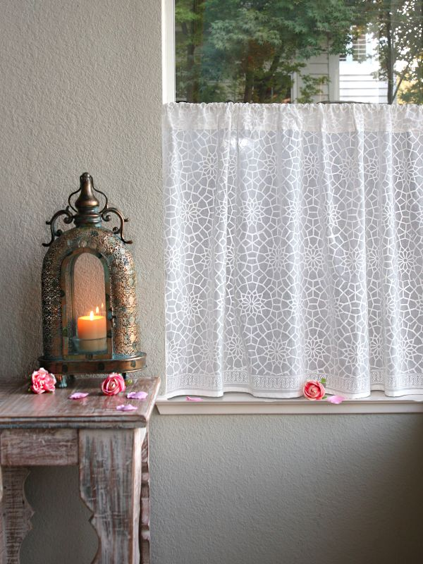 Great rm white Moroccon inspired lattice kitchen curtain main