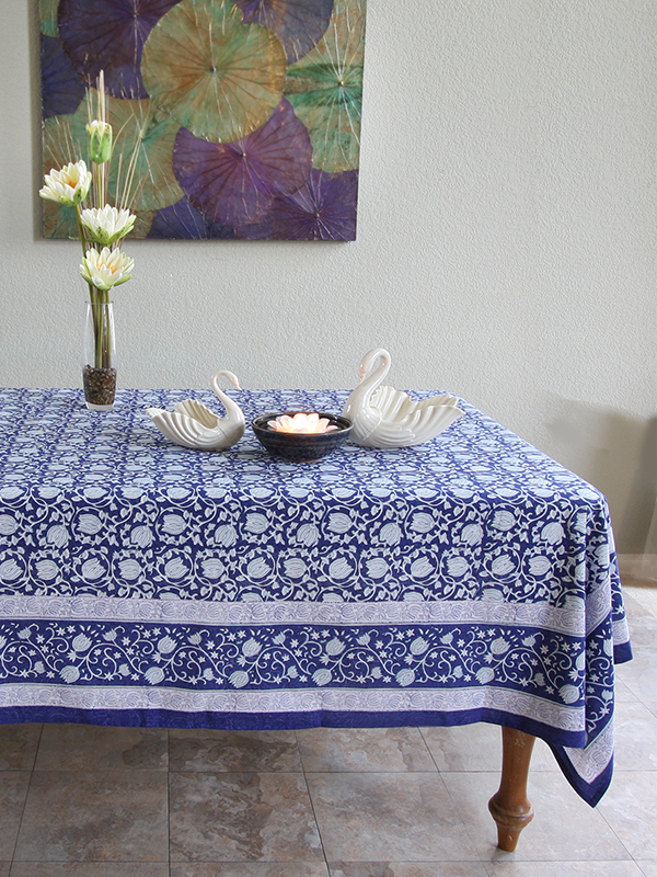 style a fresh blue and white dining room