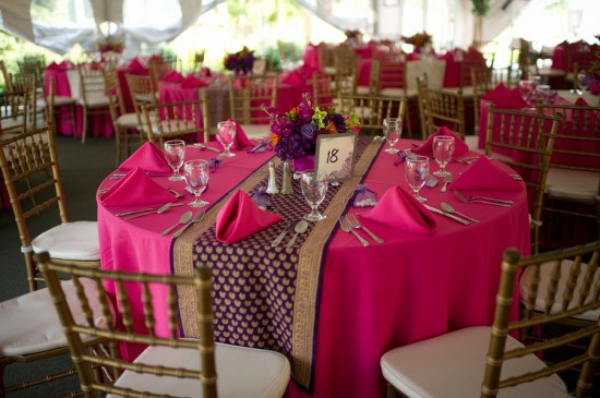 Nice Purple_wedding_table_runner_round_table